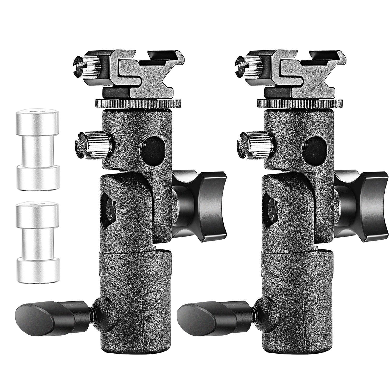 Neewer Profesional Soporte luz cámara flash speedlite tipo E soporte giratoria con soporte de paraguas universal para Canon Nikon Pentax Olympus y otros Flashes, Studio luz, Led Light(Pack de 2)