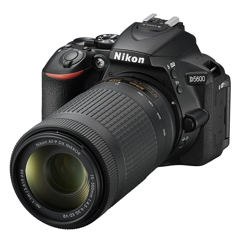 "Nikon D5600- Cámara réflex de 24.2 MP (Pantalla táctil de 3"", Full HD) Negro - Kit con Objetivo AF-P DX 18-55 mm VR y AF-P 70-300 mm DX VR, versión Europea"