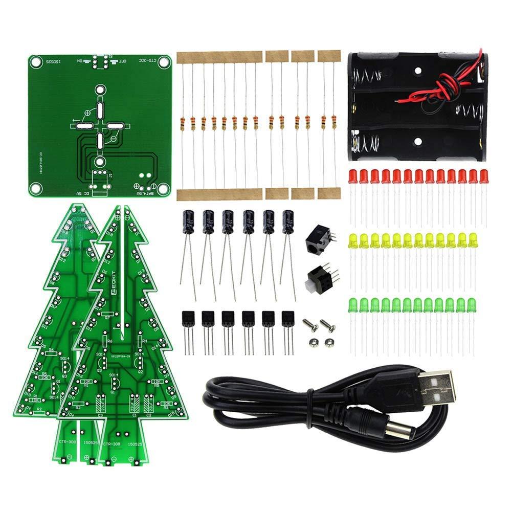 ROKOO Juego de Aprendizaje electrónico con Brillos, Piezas de circuitos, Brillos, Destellos, Bricolaje, árbol de Navidad, LED