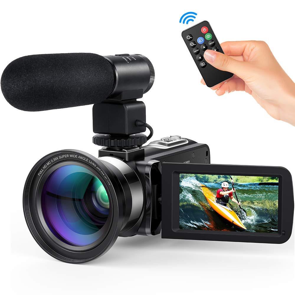 """Videocamara Digital Andoer Portátil Cámara de Video Digital 1920 * 1080P HD Pantalla 3.0"""" IPS 24MP 16X Zoom Digital,Rotación de 270° con Control Remot Apoyo Noche de Infrarrojos Disparar (4#)"""