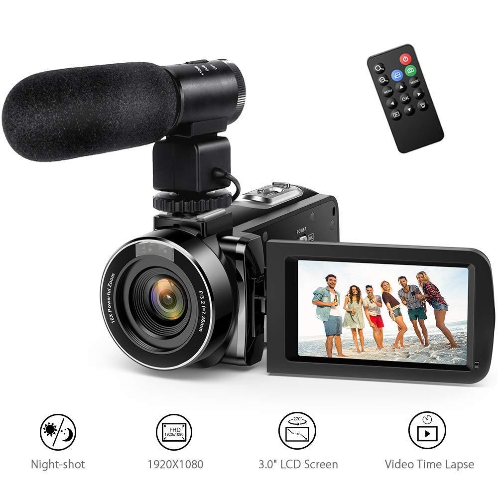 """Videocamara Digital Andoer Portátil Cámara de Video Digital 1920 * 1080P HD Pantalla 3.0"""" IPS 24MP 16X Zoom Digital,Rotación de 270° con Control Remot Apoyo Noche de Infrarrojos Disparar (2#)"""