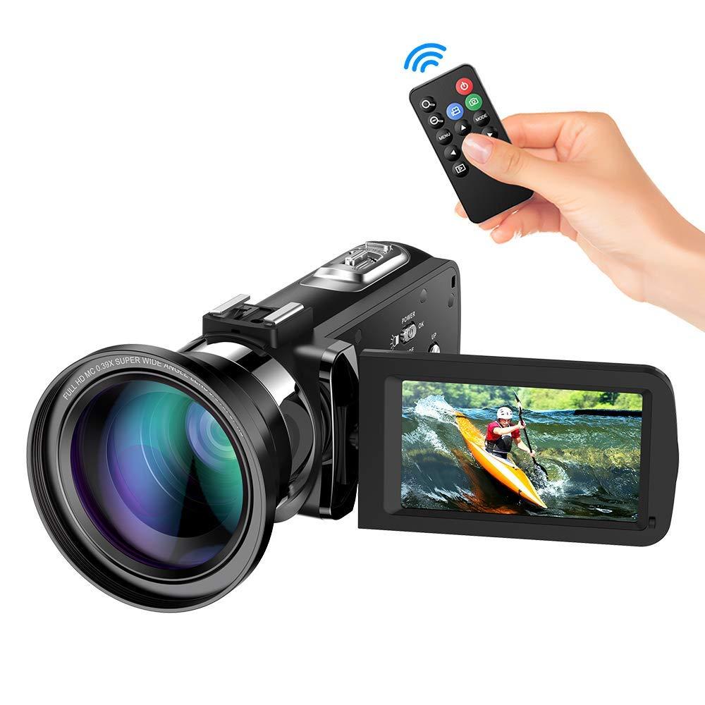 """Videocamara Digital Andoer Portátil Cámara de Video Digital 1920 * 1080P HD Pantalla 3.0"""" IPS 24MP 16X Zoom Digital,Rotación de 270° con Control Remot Apoyo Noche de Infrarrojos Disparar (3#)"""