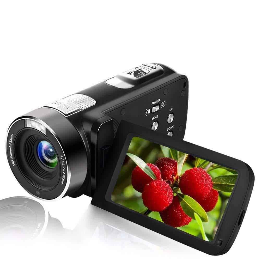 """Videocámara Full HD Cámara Digital 18X Zoom con Visión Nocturna por Infrarrojos Cámara Digital de 24.0 MP Pantalla de 3 """"LCD Camára de Mano Portátil"""