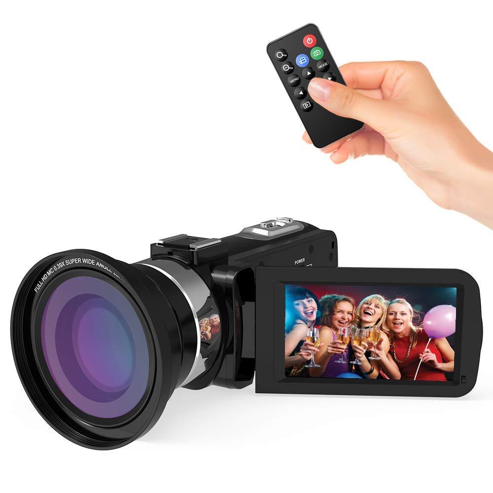 """Videocámaras Digitales WiFi Andoe Cámara de Video Full HD1080P IR Visión Nocturna 24.MP Zoom Digital de 16x, 3"""" Pantalla táctil LCD Videograbadora con Control Remoto y Lente Gran Angular 0.39X"""