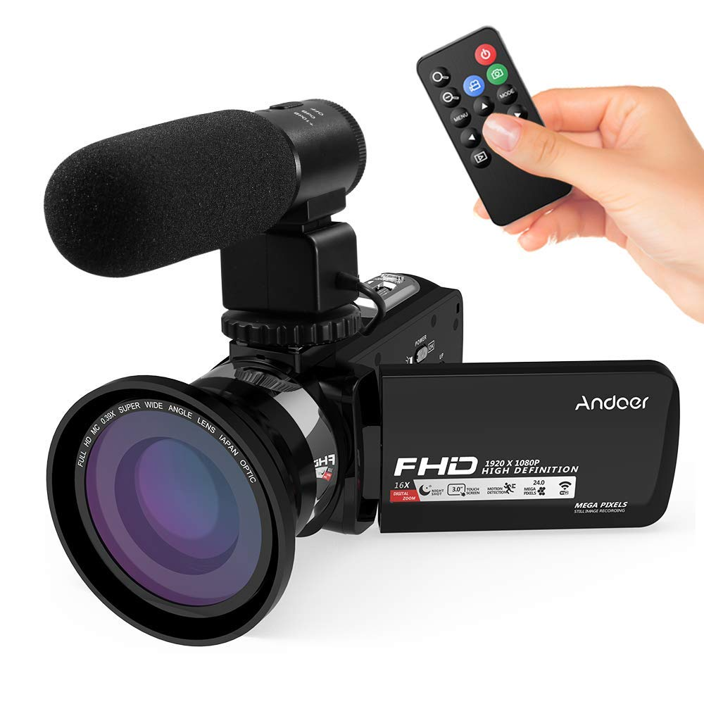 "Videocámaras Digitales WiFi Andoe Cámara de Video Full HD1080P IR Visión Nocturna 24MP Zoom Digital de 16x,3"" Pantalla táctil LCD Videograbadora,1 Control Remoto,Micrófono,Lente Gran Angular 0.39X"