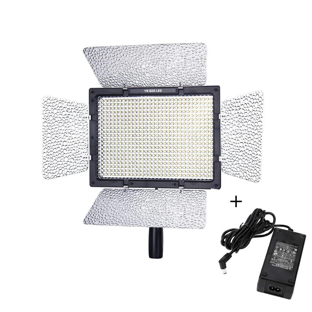 Yongnuo yn-600 600 led réflex digital de vídeo videocámara cámara de la fotografía de estudio con Adaptador de alimentación de CA