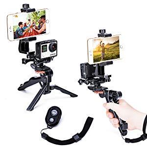 Zeadio 3 en 1 Grip estabilizador de mano y trípode Combo con doble pantalla plana, soporte para teléfono y mando a distancia Bluetooth para todos GOPRO iPhone Samsung, 2 ángulos Shooting simultáneamente también como selfie stick