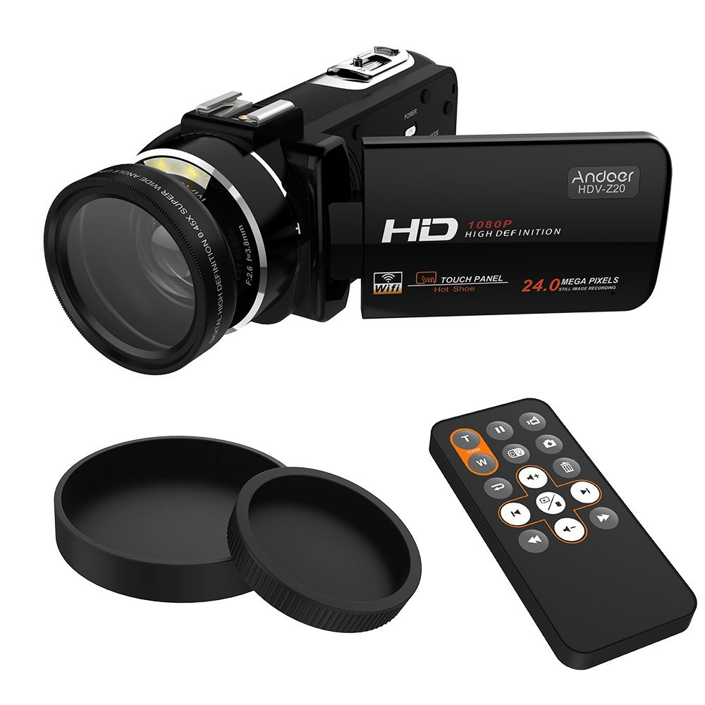 """Andoer HDV-Z20 1080P Portátil Cámara de Vídeo Digital con 37mm 0.45 × Lente Gran Angular Max 24 Mega Píxeles 16x Zoom Digital WIFI 3.0"""" LCD Pantalla Táctil con Control Remoto Soporte Hot Zapata"""