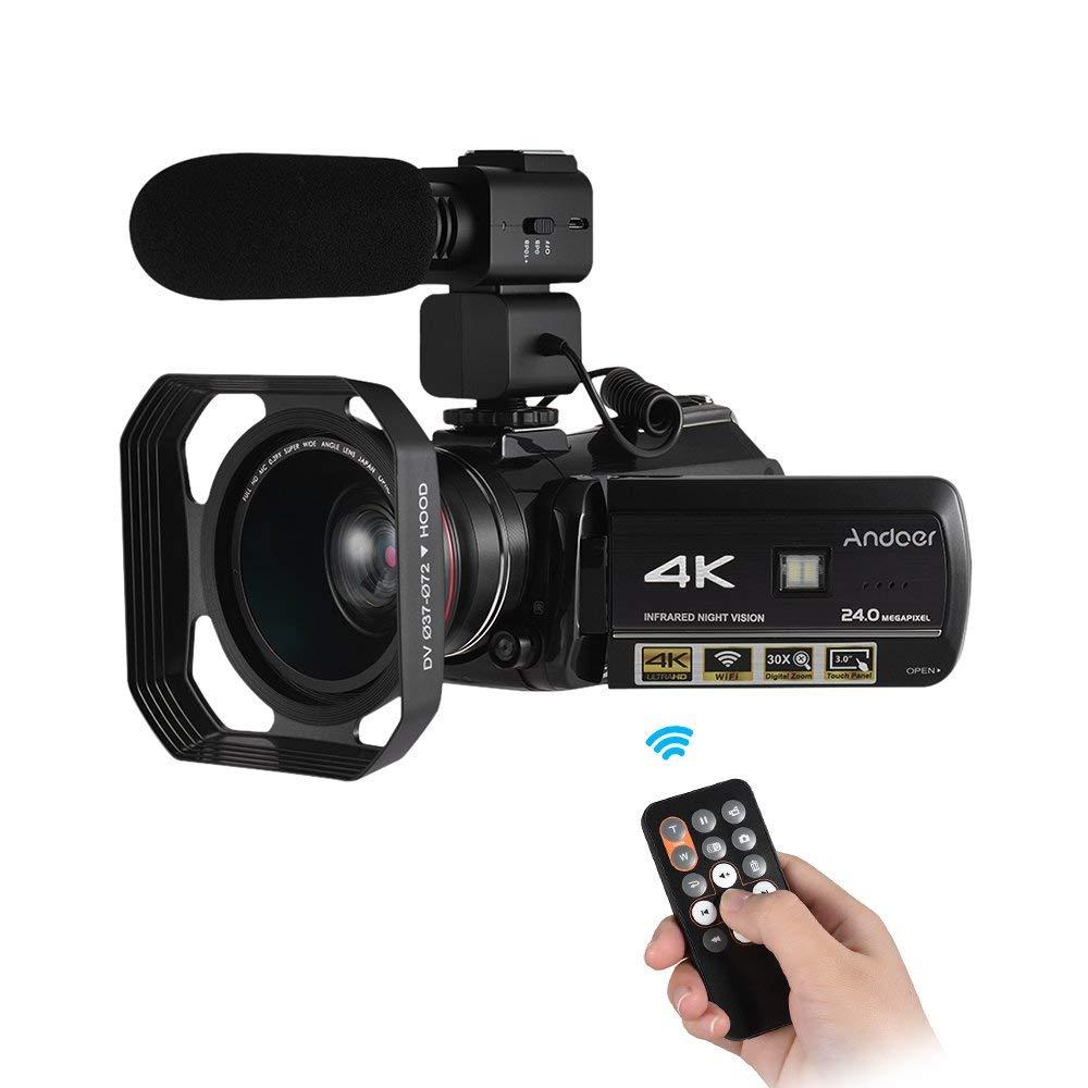 """Andoer–AC34K UHD cámara de vídeo digital 24MP videocámara grabadora DV 30x zoom WiFi conexión IR visión nocturna 3.0""""LCD pantalla táctil, con 0.39x gran angular + parasol + micrófono externo"""