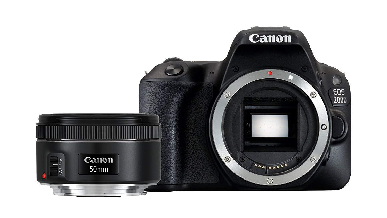 Canon EOS 200D - Cámara digital réflex 24.2 Mp (Pantalla Táctil 3.0'', WiFi, Bluetooth, Dual Pixel CMOS AF, Full HD), color negro - Kit cuerpo con objetivo EF 50 mm, F/1.8 STM