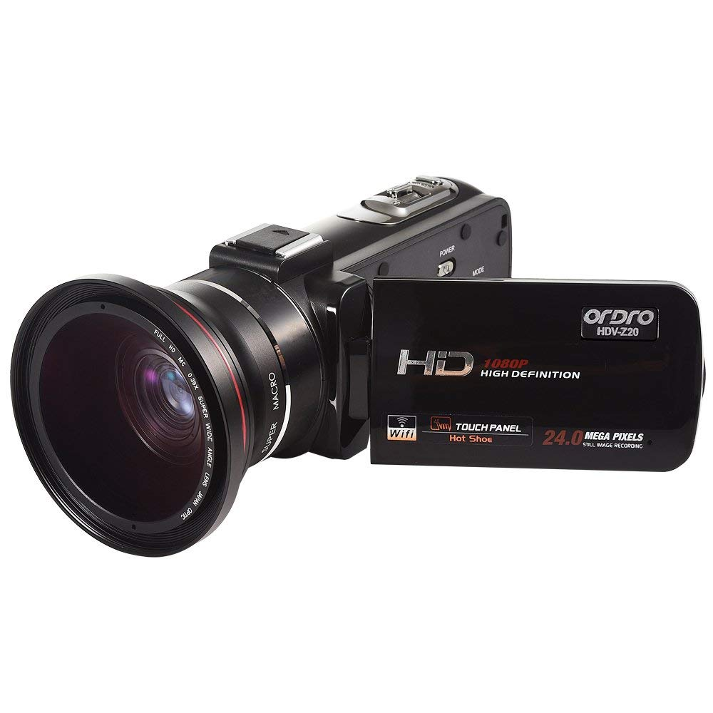 FHD Videocámara ORDRO WiFi 24MP Cámara de Video Digital con Lente Gran Angular (HDV-Z20W)