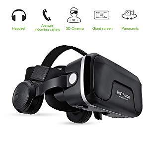 Gafas de Realidad Virtual con Auriculares, [Regalos] HAMSWAN 3D VR Googles con Auriculares Incorporados, Visión de 360 Grados, FOV Botón, Multifunción Para Los Móviles de Pantalla 4.0-6.0 Pulgadas