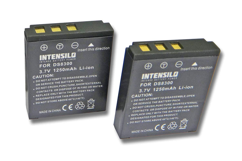INTENSILO 2x Li-Ion batería 1250mAh (3.7V) para cámara de video, videocámara Vivitar DP8300, DP8330 por DS8330-1, BATS8.