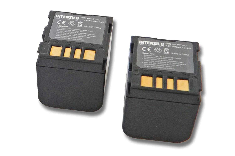 INTENSILO 2x Li-Ion batería 1500mAh (7.4V) para videocámara, cámara de video JVC GZ-MG30, GZ-MG33, GZ-MG37, GZ-MG40 por BN-VF707, BN-VF714.