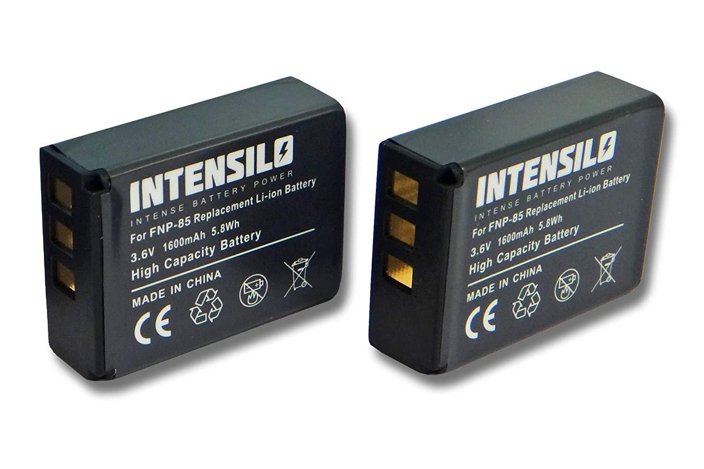 INTENSILO 2x Li-Ion batería 1600mAh (3.6V) para videocámara cámara de video Toshiba Camileo X200, X400, X416 HD, X416HD, Z100 por NP-85, CB170, PA3985