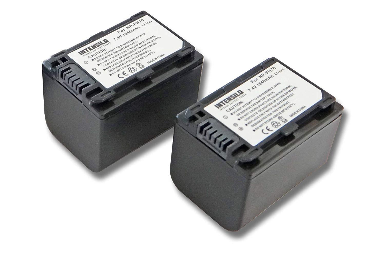 INTENSILO 2x Li-Ion batería 1640mAh (7.4V) para cámara de video, videocámara Sony DCR-SR37, DCR-SR37E, DCR-SR38, DCR-SR38E por NP-FH70, NP-FH40