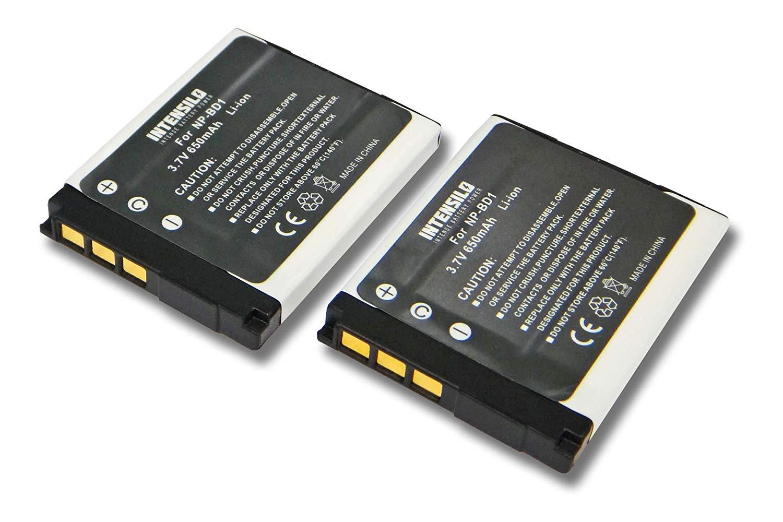 INTENSILO 2x Li-Ion batería 650mAh (3.7V) para cámara de video, videocámara Sony Cybershot DSC-T300, DSC-T500, DSC-T700, DSC-T900, DSC-TX1 por NP-BD1