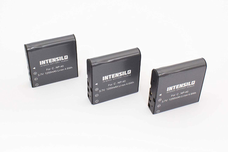 INTENSILO 3 x Li-Ion batería 1250mAh (3.7V) para videocámara cámara de video Silvercrest DV-1000HD, DV-5300HD por NP-40.