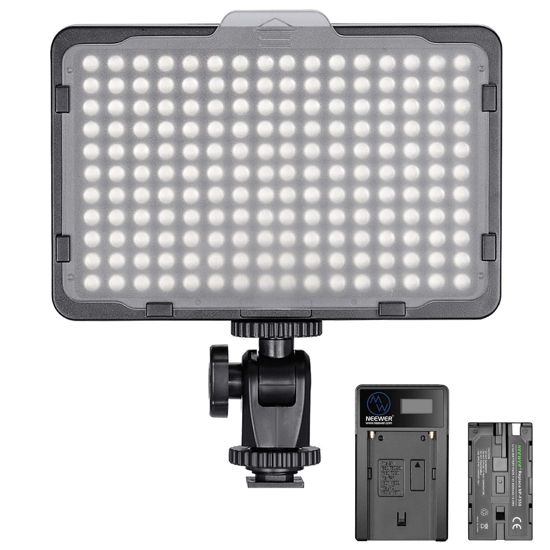 Neewer Regulable 176 LED Luz de Video 5600K en Panel de Luz de Cámara con 2600mAh Batería y Cargador USB para Canon, Nikon, Pentax, Panasonic, Sony y Otras Cámaras Digitales SLR para Fotografía