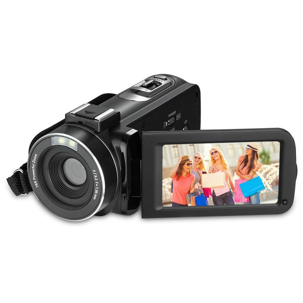 RegeMoudal Cámara de video digital, Full HD 1080p de 24.0 megapíxeles videocámara, 3 Pulgadas LCD rotativa Pantalla Camara Video 16X Zoom Digital función.