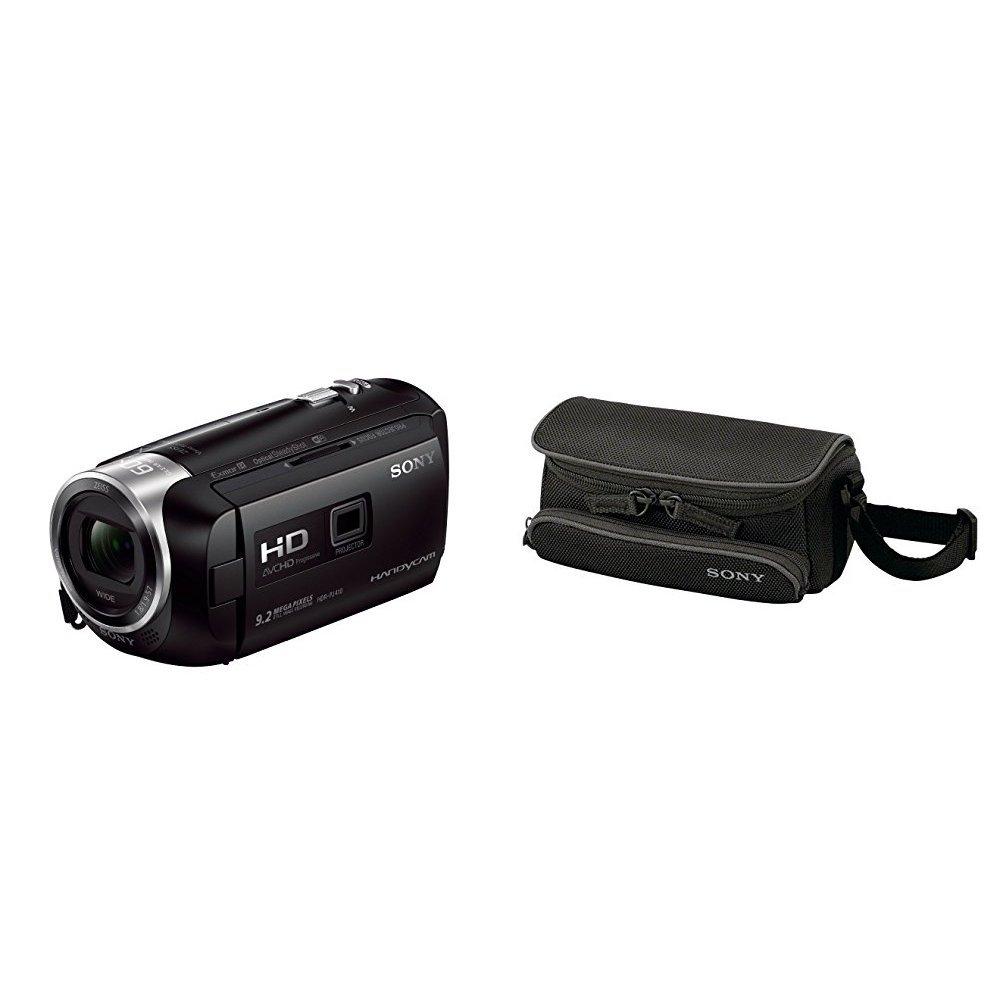 "Sony HDR-PJ410 - Videocámara (pantalla de 2.7"", zoom óptico 30x, WiFi, NFC), negro + Sony LCSU5 - Funda para videocámaras videocámaras compactas, negro"
