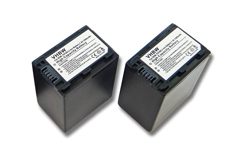 vhbw 2X batería Set 3300mAh (7.2V) para cámara de Video cámara sustituye Sony NP-FH40, NP-FH50, NP-FH60, NP-FH70, NP-FH100.