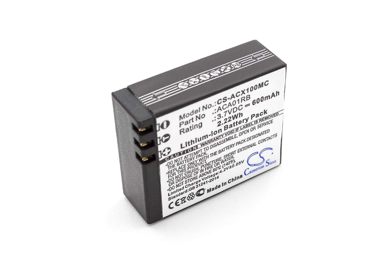 vhbw Li-Ion batería 600mAh (3.7V) para cámara de vídeo videocámara Activeon CX, CX Gold, CX HD