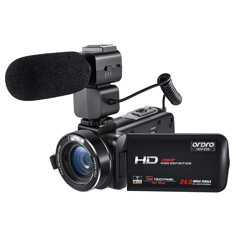 Videocámara ORDRO HDV-Z20 FHD 1080P 30FPS WiFi Videocámara Videocámaras Digitales con micrófono Externo