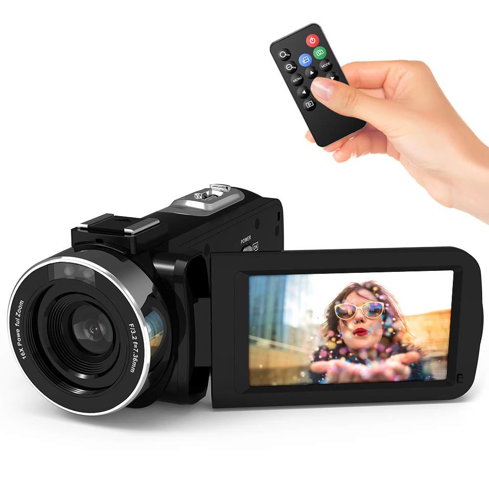 """Videocámaras Digitales WiFi Andoe Cámara de Video Full HD1080P IR Visión Nocturna 24.MP Zoom Digital de 16x, 3"""" Pantalla táctil LCD Videograbadora con Control Remoto (1#)"""