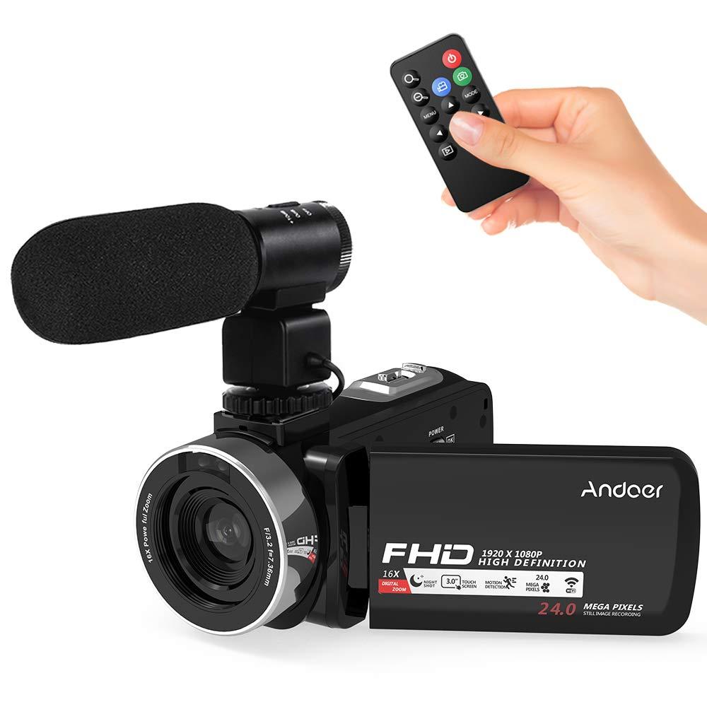 """Videocámaras Digitales WiFi Andoe Cámara de Video Full HD1080P IR Visión Nocturna 24.MP Zoom Digital de 16x,3"""" Pantalla táctil LCD Videograbadora con Control Remoto y Micrófono"""