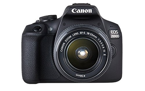 "Canon EOS 2000D - Cámara réflex de 24.1 MP (CMOS, Escena inteligente automática, 9 puntos AF, filtros creativos, EOS Movie, Full HD LCD 3"", WiFi/NFC) negro - Kit con objetivo EF-S 18-55mm IS II"