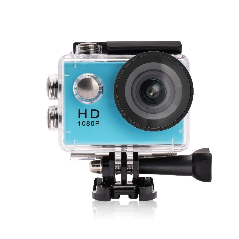 Cámara de video de acción YUNTAB, Full-HD, 1080P, pantalla LCD de 2.0 pulgadas, lente de video y imagen de 120 grados de ancho, resistente al agua hasta 30 m, accesorios múltiples (azul)