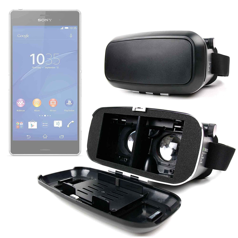 DURAGADGET Gafas de Realidad Virtual VR Ajustables en Color Negro para Smarphones Motorola One Power, Sony Xperia XZ3 + Gamuza limpiadora.