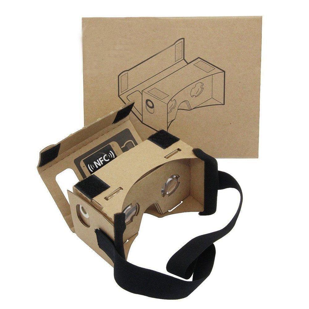 Google Cartón 3D VR Realidad Virtual Cartón Caja VR Headset Alargado con Cinta para la Cabeza Nariz Pad VR Gafas de Cartón para la Mayoría de Smartphones