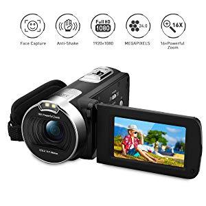 PRIKIM Videocámara Digital Portátil, HD 1080P 24MP, Zoom 16x, Rotación de 270°, Cámara Web, Visión Nocturna, Negro
