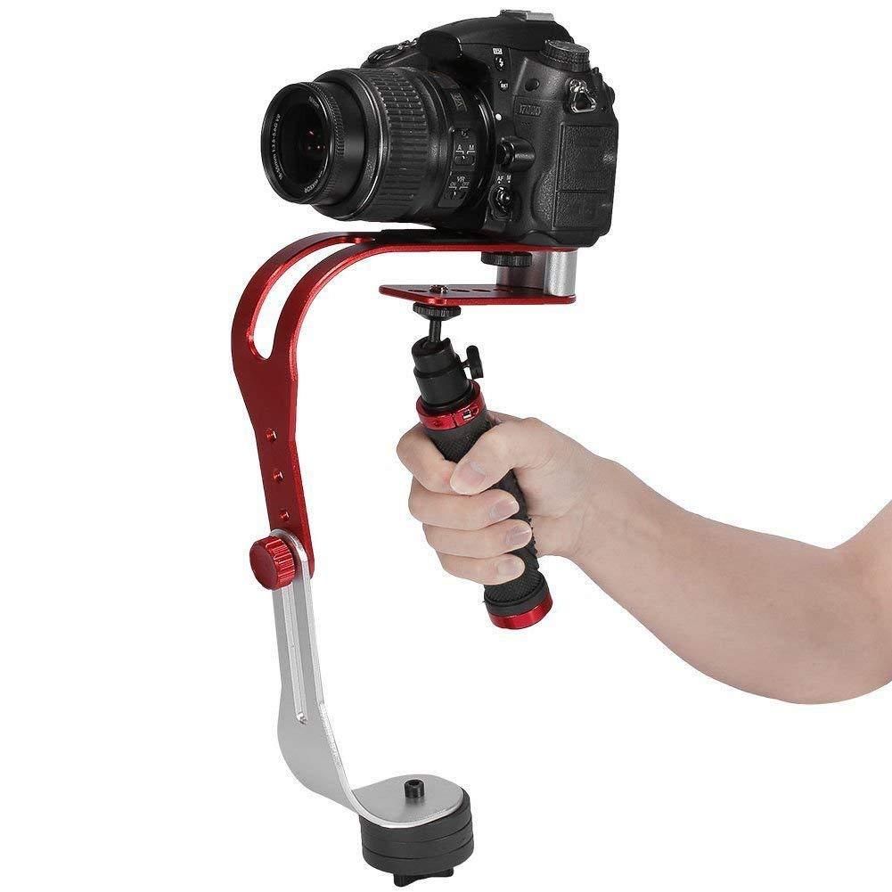 Pro portátil Steadycam Vídeo Estabilizador Handle Grip Steady Soporte para Canon Nikon Sony cámara CAM videocámara DV DSLR–Mango de Goma, Color Rojo y Negro