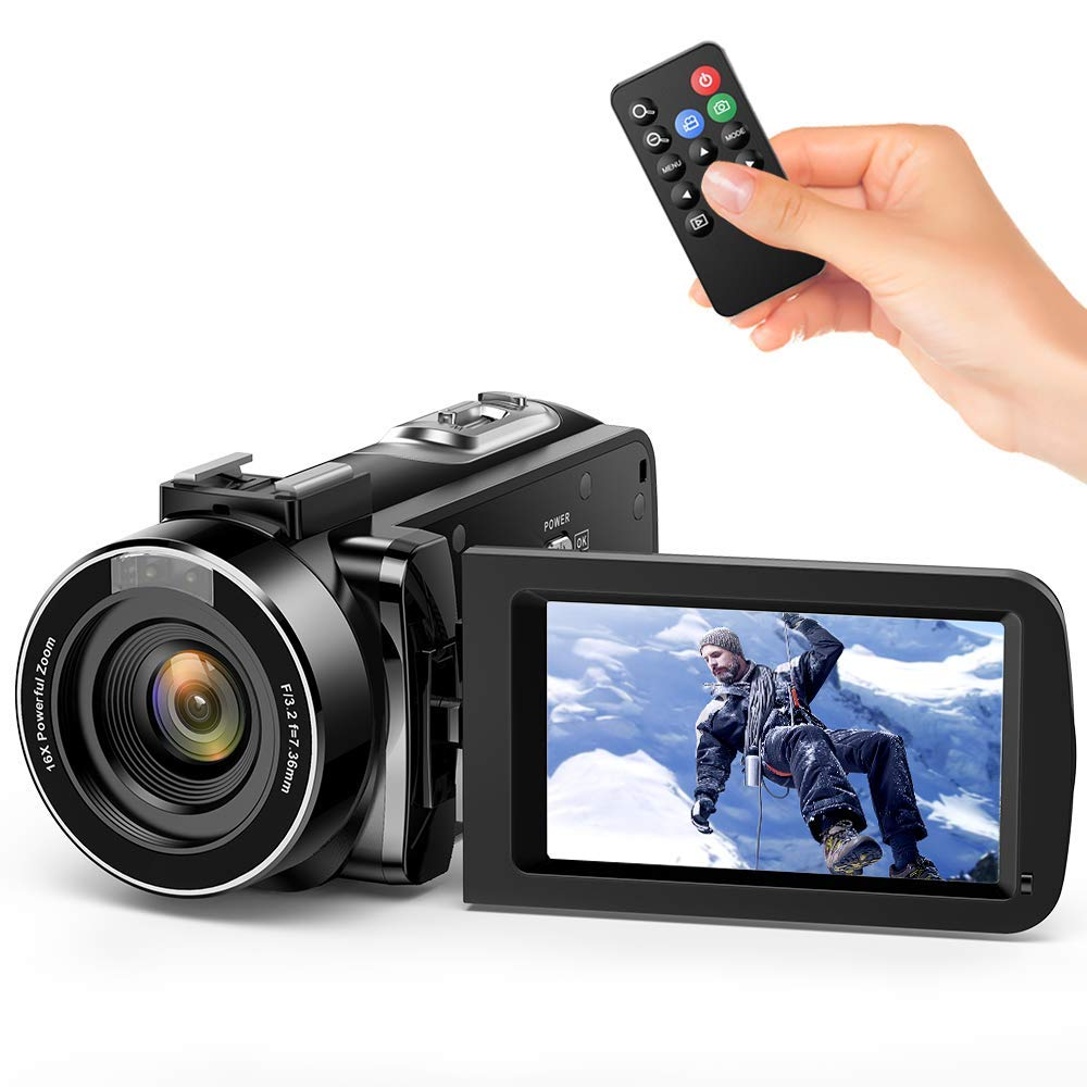 """Videocamara Digital Andoer Portátil Cámara de Video Digital 1920 * 1080P HD Pantalla 3.0"""" IPS 24MP 16X Zoom Digital,Rotación de 270° con Control Remot Apoyo Noche de Infrarrojos Disparar (1#)"""
