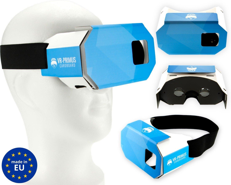 VR-PRIMUS Cardboard - Gafas de Realidad Virtual VR - Para smartphones Android y iOS como iPhone, Samsung, HTC, LG, Huawei, Motorola, OnePlus, ZTE y muchos más - Compatible con aplicaciones de Google Cardboard - Muy ligero. Con almohadilla de nariz suave y banda elástica ancha - 3D virtual reality video headset / vr goggles / glasses - Fabricado en Europa