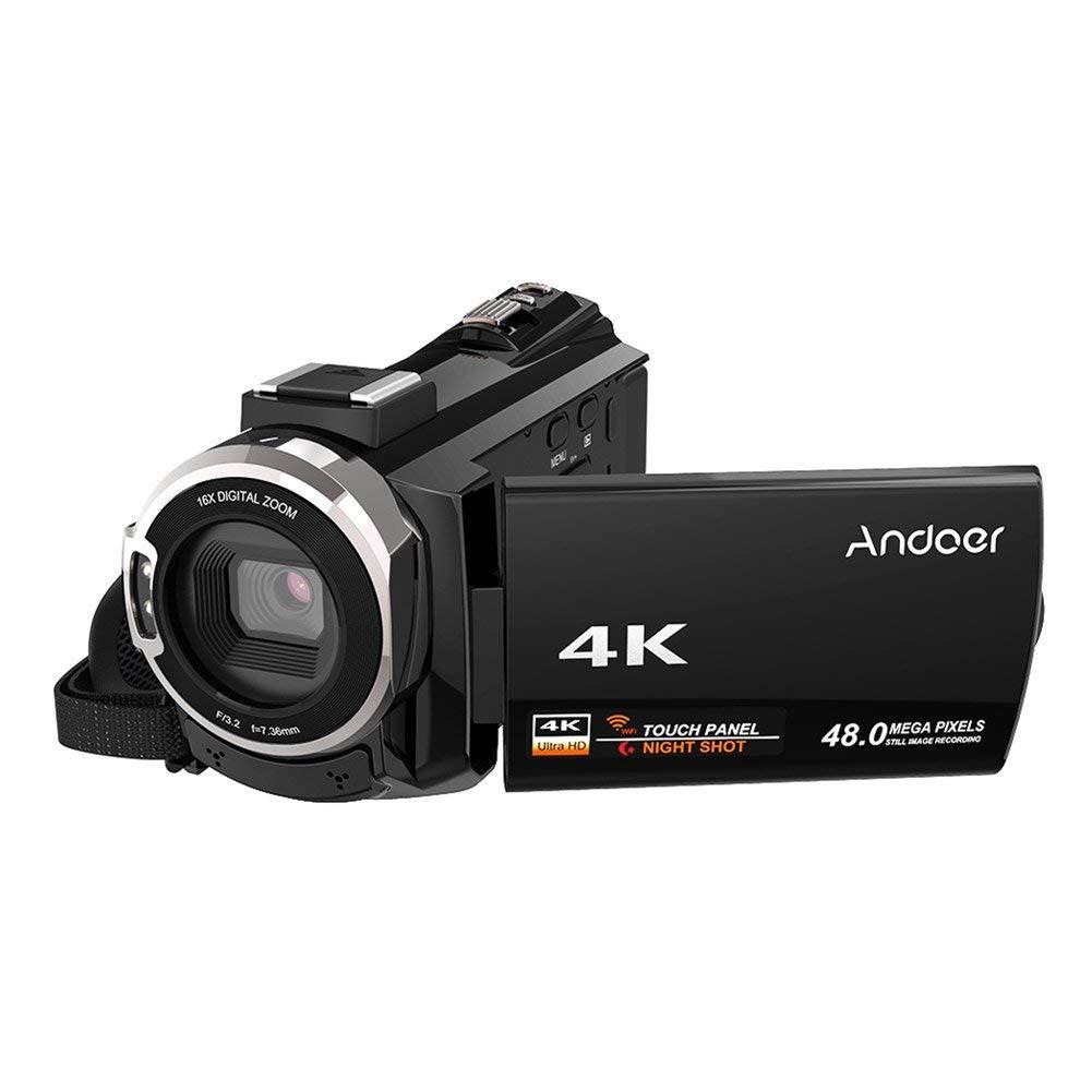 Andoer 4K 1080P 48MP WiFi Cámara de video digital con lente macro 0.39X Micrófono externo Novatek 96660 Chip 3 pulgadas Pantalla táctil capacitiva IR Visión nocturna infrarroja 16X Zoom digital