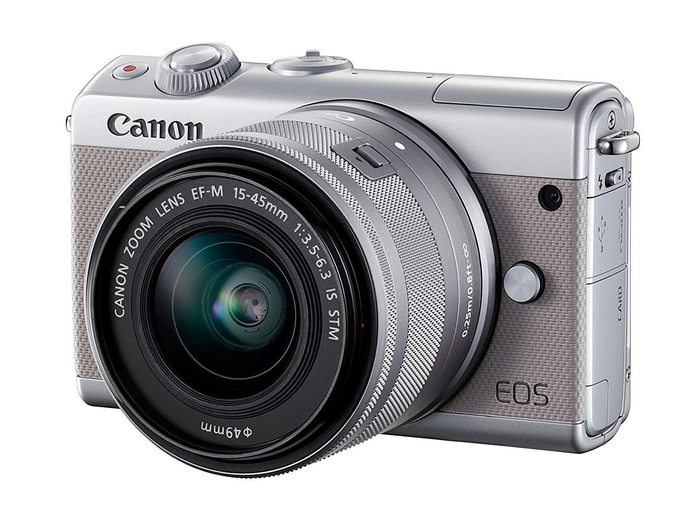 Canon EOS M100 - Cámara Evil compacta de 24.2 MP (LCD, FHD, Bluetooth, WiFi/NFC, Dual Pixel AF, DIGIC 7) Gris - Kit Cuerpo con Objetivo EF-M 15-45 mm