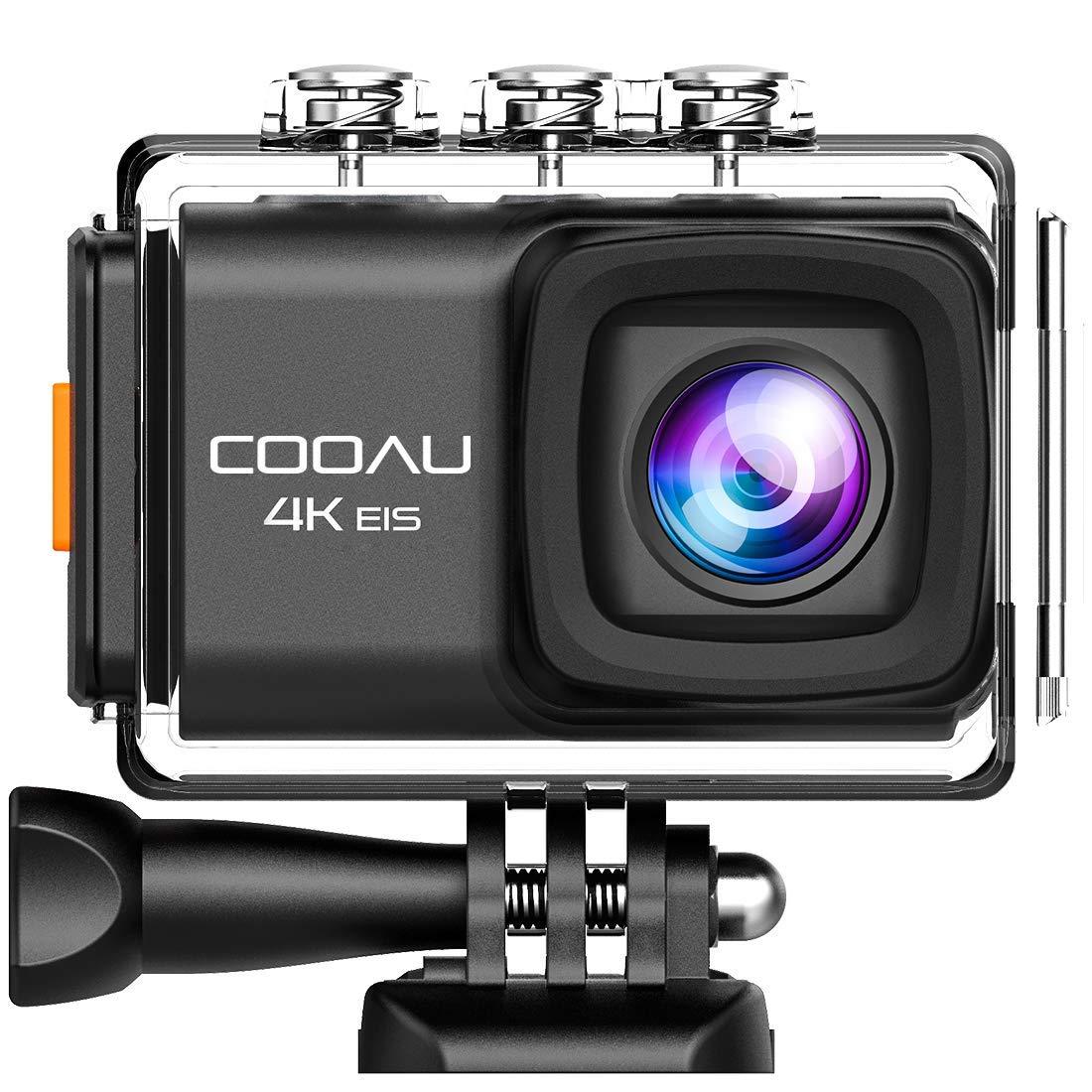 Cámara Deportiva 4K 20Mpx WiFi de COOAU Anti vibración micrófono Externo Dos baterías