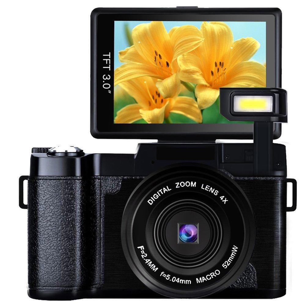 Cámara Digital de videocámara Full HD 1080p 24.0MP cámara de vlogging 3.0 Pulgadas con Pantalla de cámara con Linterna retráctil