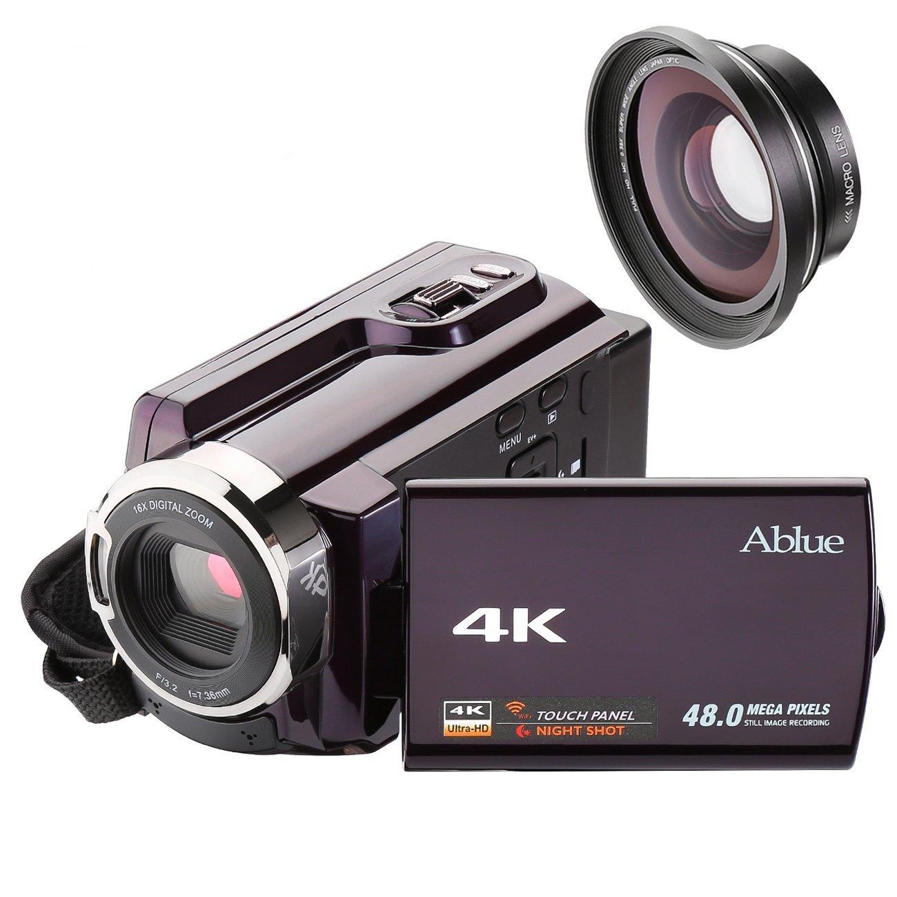 Cámara Videocámara, ablue 4K Ultra HD portátil 30fps WiFi Cámara de vídeo digital, 3,0pulgadas pantalla táctil capacitiva, IR de visión nocturna Videocámara con lente de gran angular y objetivo macro