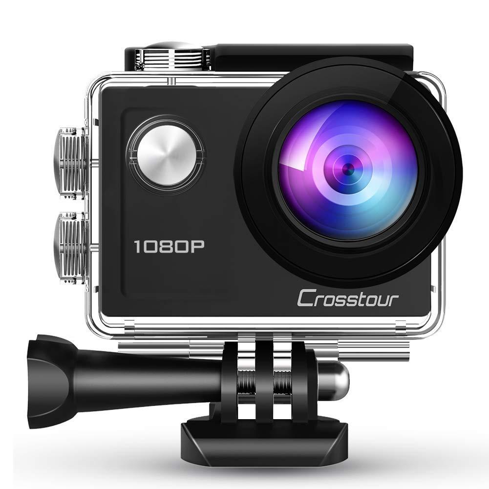 Crosstour Camara Deportiva FHD 1080P 14MP Antivibración Impermeable 30M 2.0 LCD Pantalla Grabación de Lapso de Tiempo Gran Angular de 170 Grados con Kits de Accesorios de Montaje
