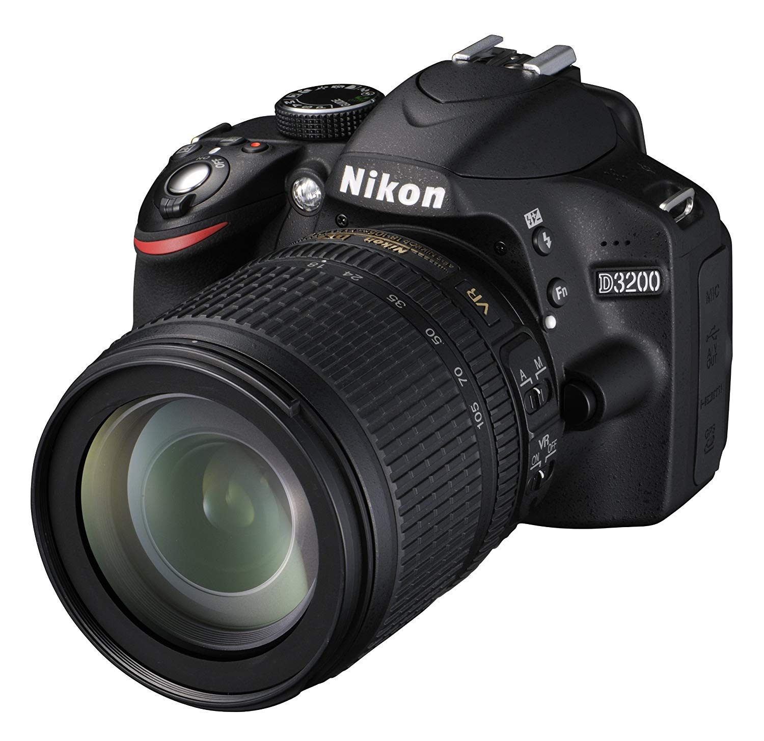 "Nikon D3200 - Cámara réflex digital de 24 Mp (pantalla 2.9"", estabilizador, vídeo Full HD), color negro - kit con objetivo AF-S DX 18-105mm f/5.6 VR"