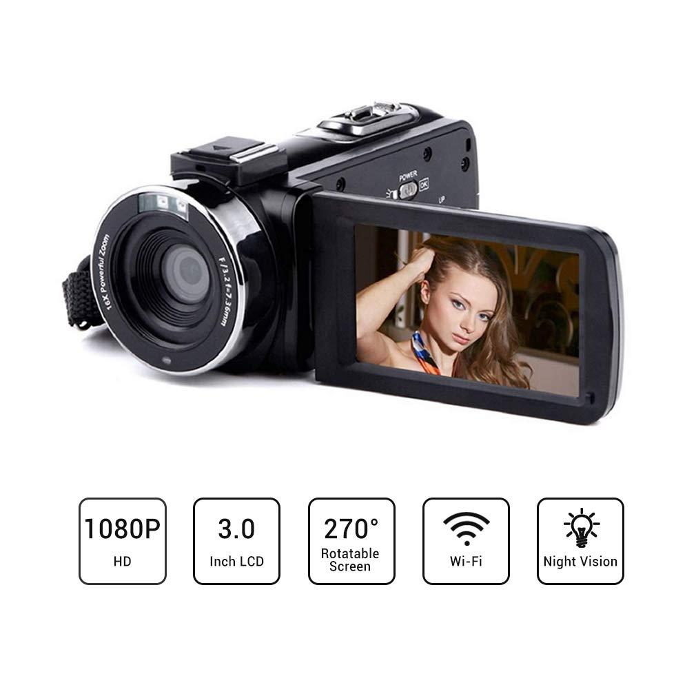 OKEU 24MP Videocámaras Video Full HD 1080P, 30FPS 3,0 Pulgadas Giratoria Pantalla LCD WiFi Cámara de Video Digital Zoom 16X Soporte Control Remoto Microfono Visión Nocturna Pausa Función
