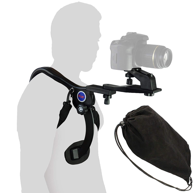 Soporte De Hombro Ligero para DSLR y Videocámaras | Resto De Hombro Con 3 Trípodes | Soporte Del Cuerpo Libre para Las Dos Manos